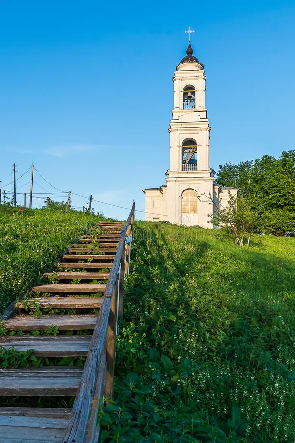 Typical Russian orthodox church in countryside. Typical Russian orthodox church, in countryside, near Tarusa town, Russia royalty free stock image