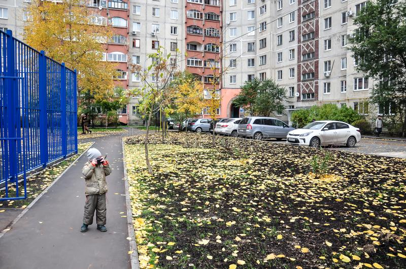 A typical Russian yard in an ordinary neighborhood, Zhukovsky, Moscow region, Russia, Europe stock photography