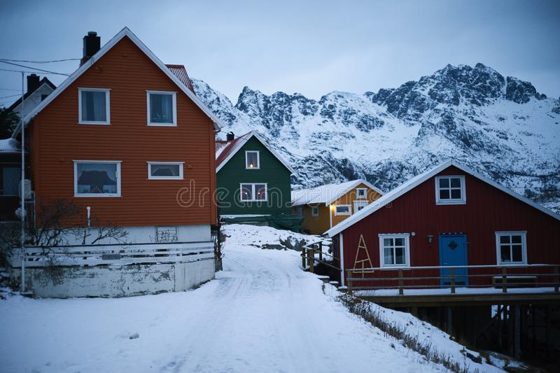 Typical scandinavian houses at fjord in front of snow covered mountains in winter stock image