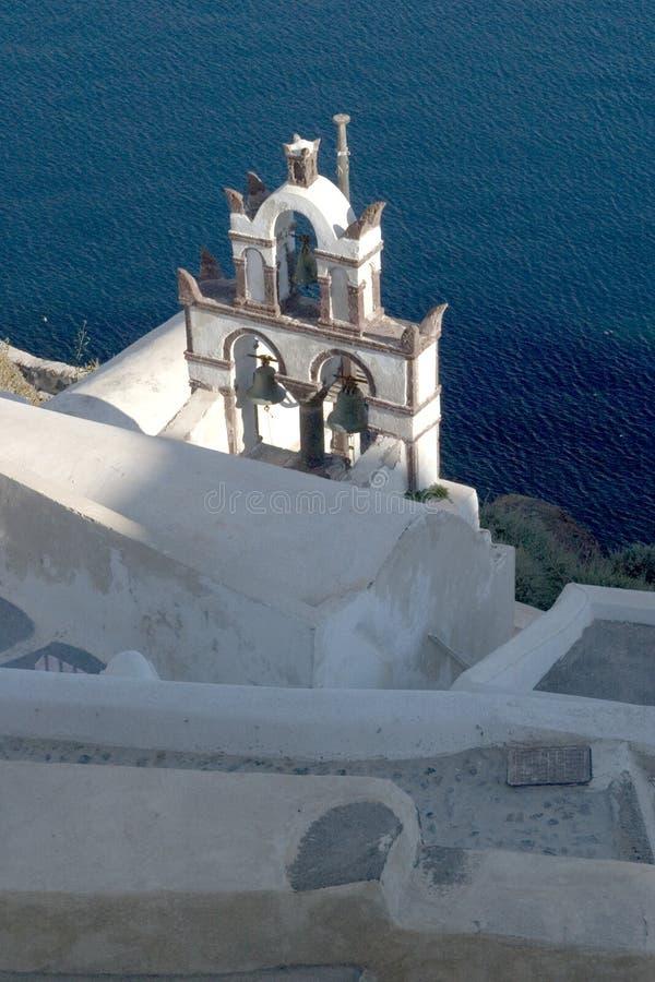 Typical scene from the Greek island of Santorini stock photo