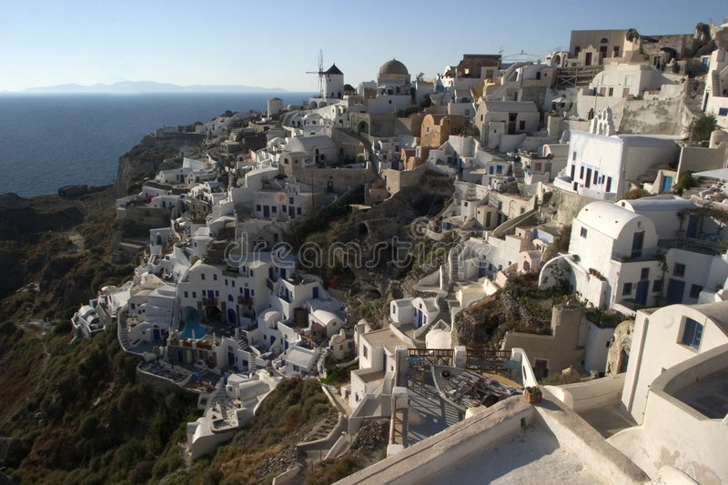 Typical scene from the Greek island of Santorini royalty free stock photo