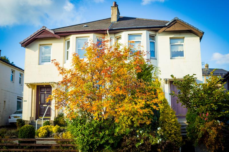 Typical Scottish house in Autumn, UK stock images