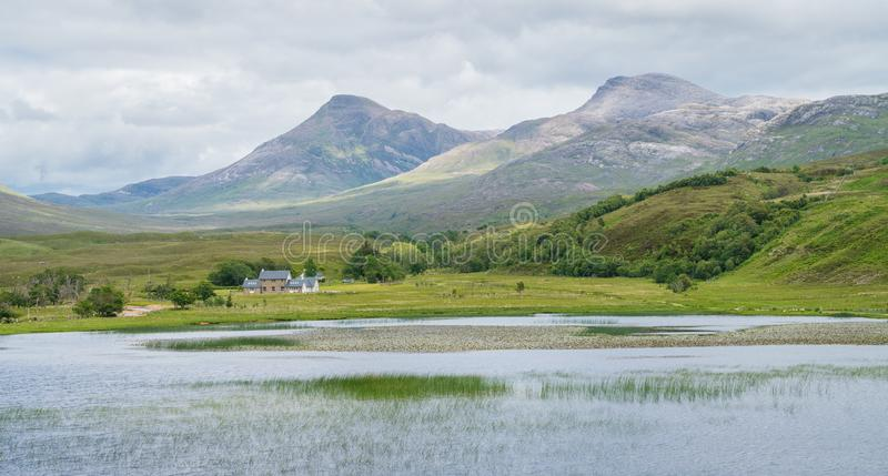 Typical scottish landscape near Loch Damh, nearby to Glen Shieldaig and Beinn Damh. royalty free stock image