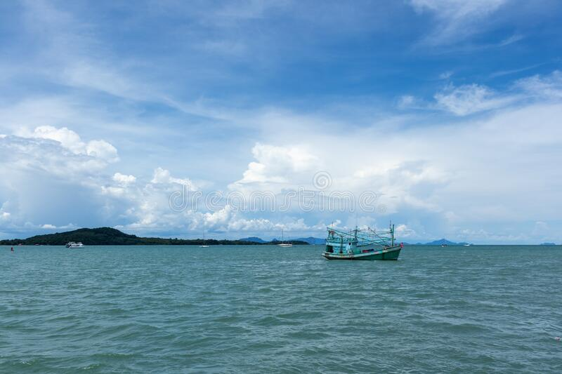 Typical sea with blue cloudy sky in normal day. royalty free stock photo
