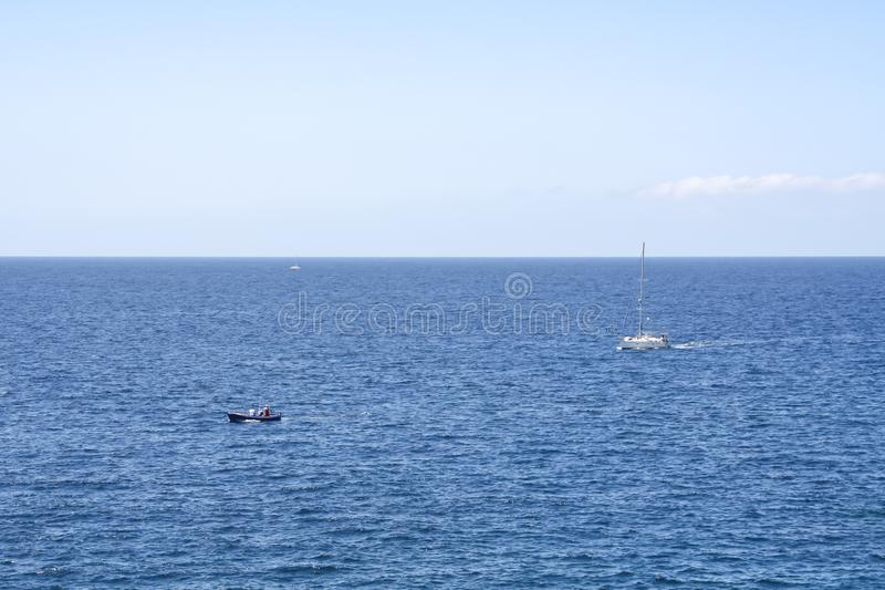 Typical sea scene with boats royalty free stock photos