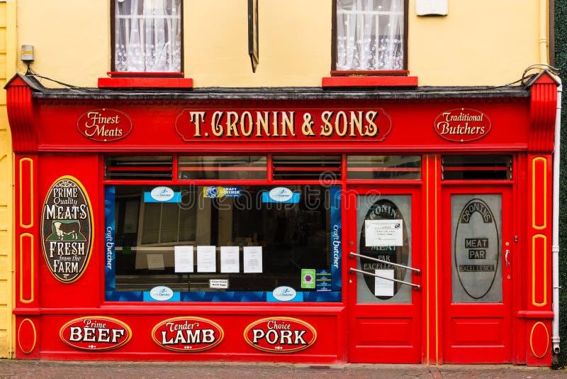 Traditional irish butcher. Killarney. Ireland. Typical shop window of a traditional irish butcher. Killarney. Ireland stock images