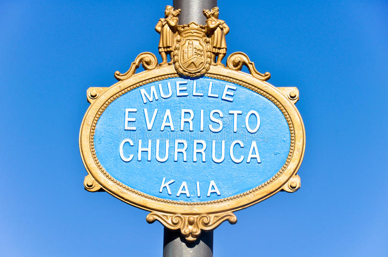Typical Sign Of A Street In Bilbao Stock Images