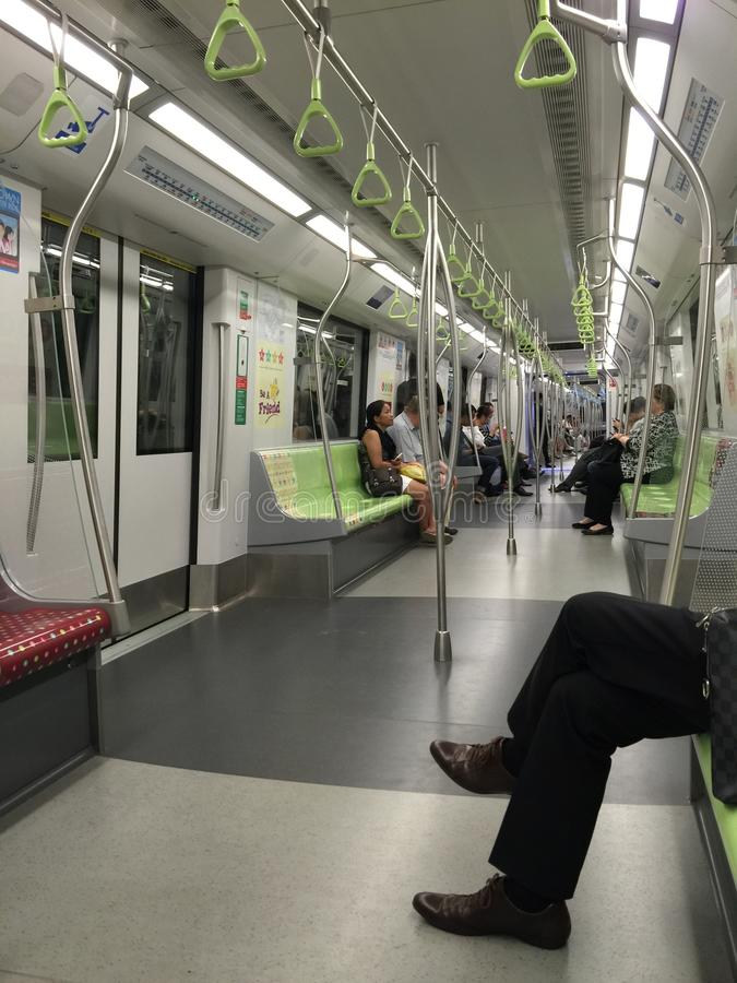 Typical Singapore metro car. Cabin, move, transport, popular, public, city, traffic, transfer, wagon, train, business, work, job, hurry, fast, link, connection stock images