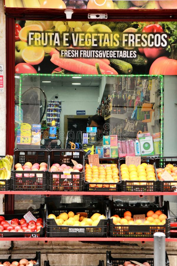 Typical small supermarket in Lisbon royalty free stock image