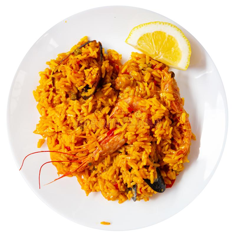 Typical spaish dish seafood paella  with mussels, shrimps and rice stock image