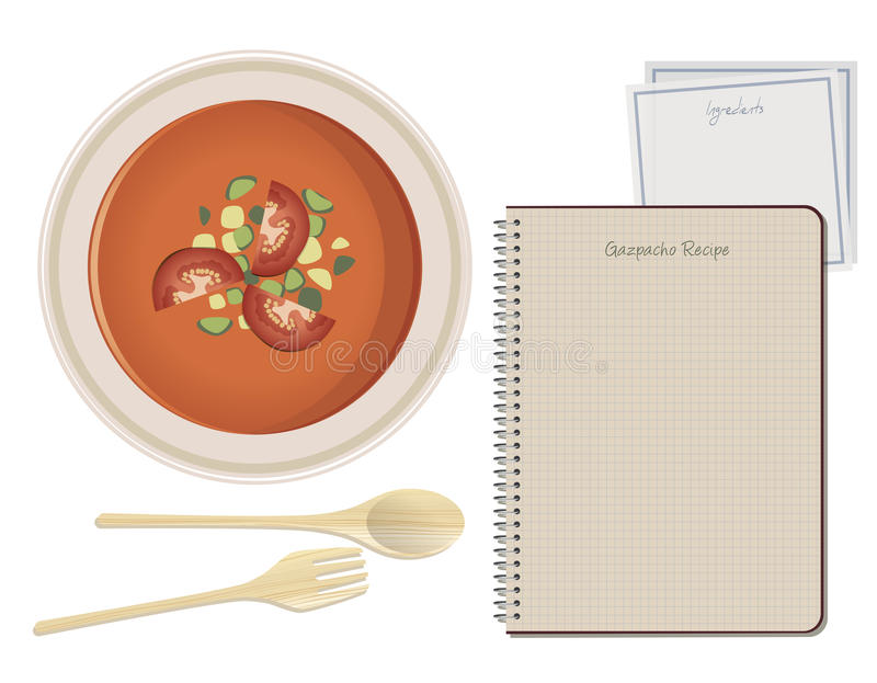 Typical spanish food gazpacho notebook recipe paper napkin stock download typical spanish food gazpacho notebook recipe paper napkin stock illustration illustration forumfinder Image collections