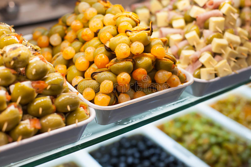 Typical spanish food market. stock photos