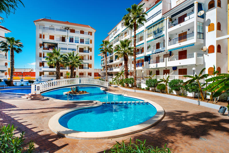 Typical spanish residential houses royalty free stock image