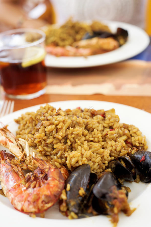 Typical spanish seafood paella stock photo
