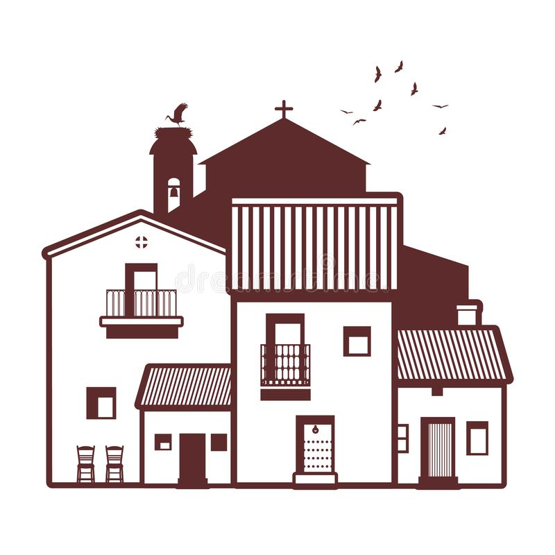 Typical Spanish village, bell tower, stork and birds on the sky. In the background vector illustration
