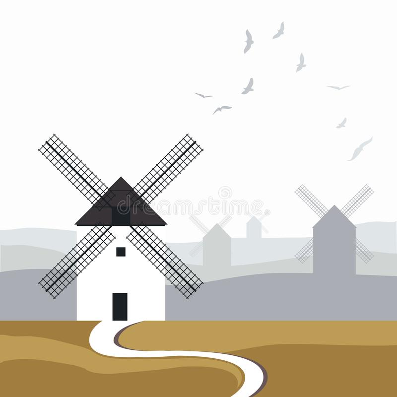 Typical Spanish windmills. Road in the foreground and landscape with birds over the sky in the background.  royalty free illustration