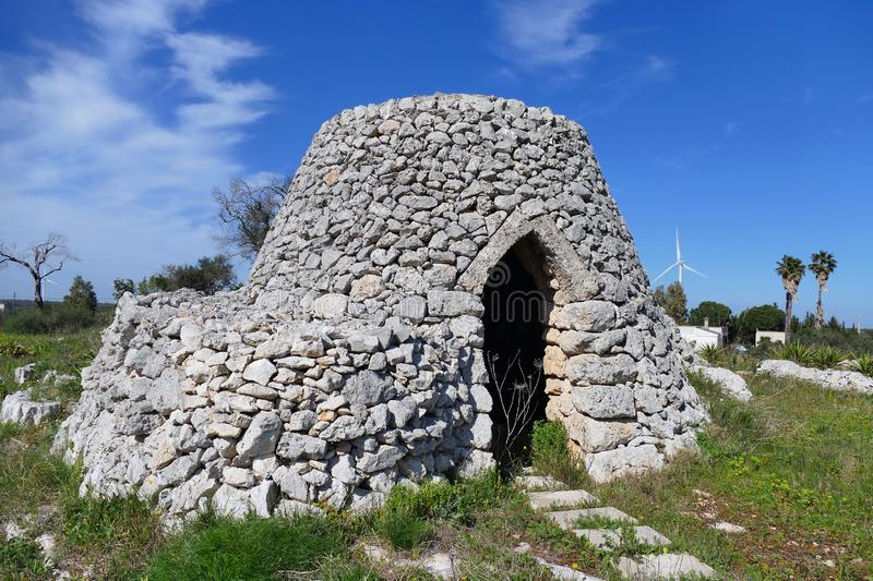 Typical stone construction of Apulia called Trullo royalty free stock photos
