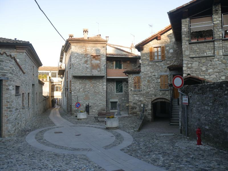 Typical street in Bobbio. stock image