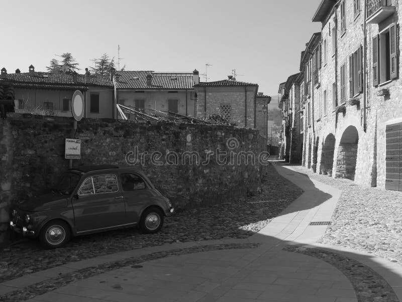 Typical street in Bobbio. stock photos