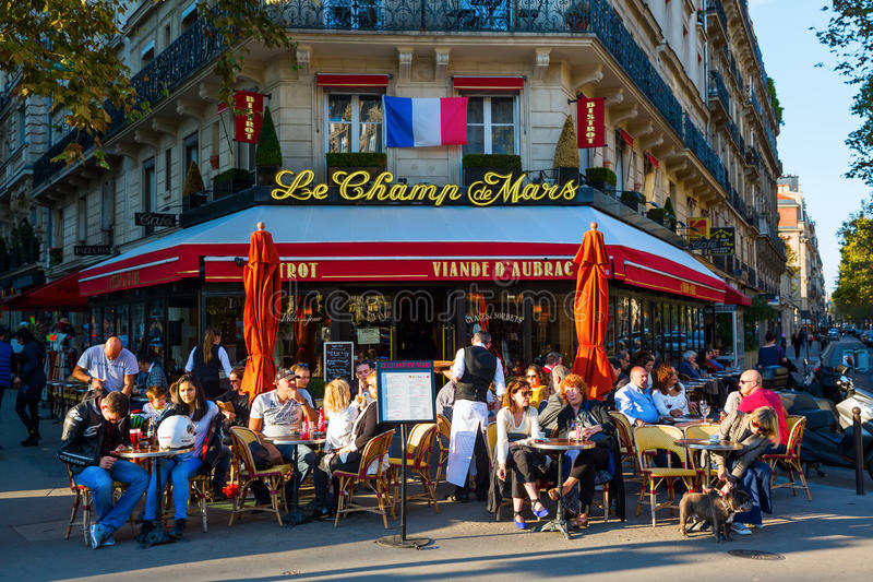 Typical street cafe in Paris, France stock photos