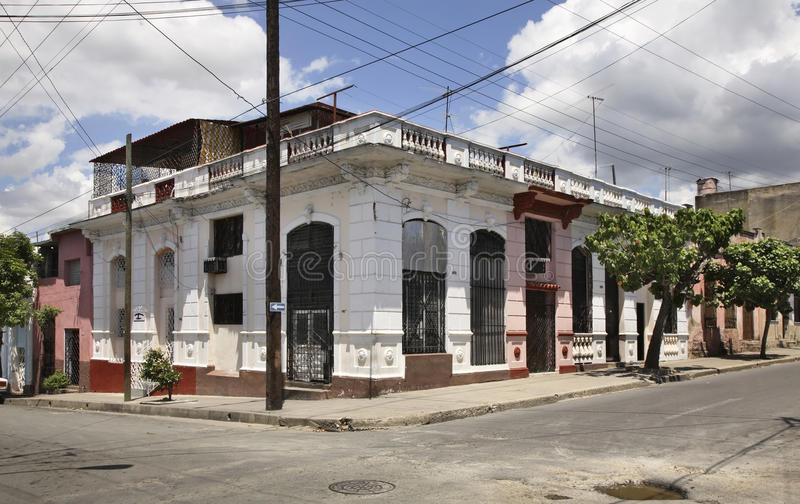 Typical street in Cienfuegos. Cuba royalty free stock photo