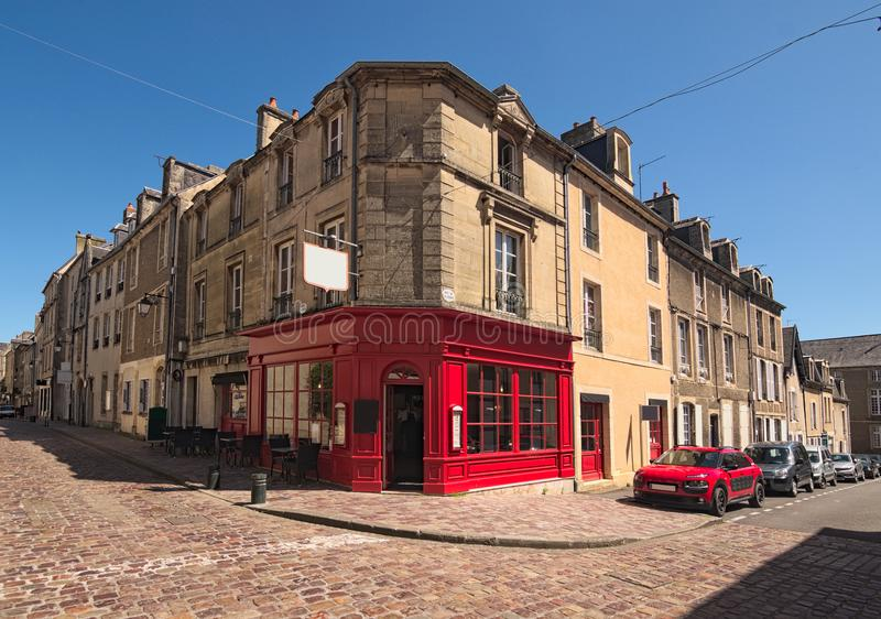 A typical street corner in the medieval city of Bayeux, Calvados department of Normandy, France stock photo