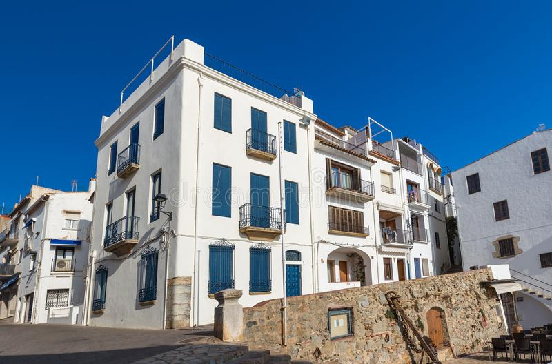 Typical street detail in a small village Calella de Palafrugell Costa Brava, Spain.  royalty free stock photography