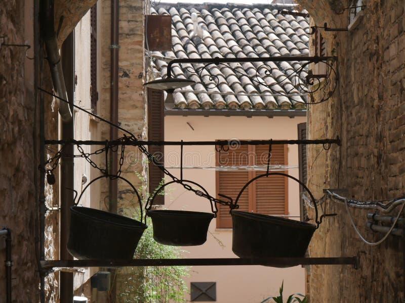 Spello - typical street gardens stock photo