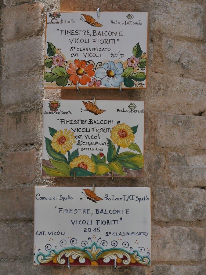 Spello - typical street gardens royalty free stock image