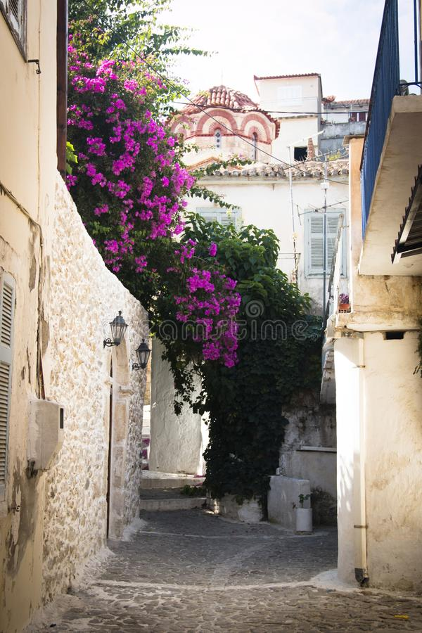 Typical street in Koroni, Greece royalty free stock image
