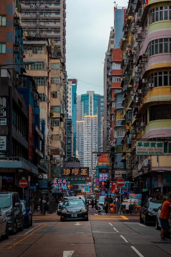 A typical street of Hong Kong stock images