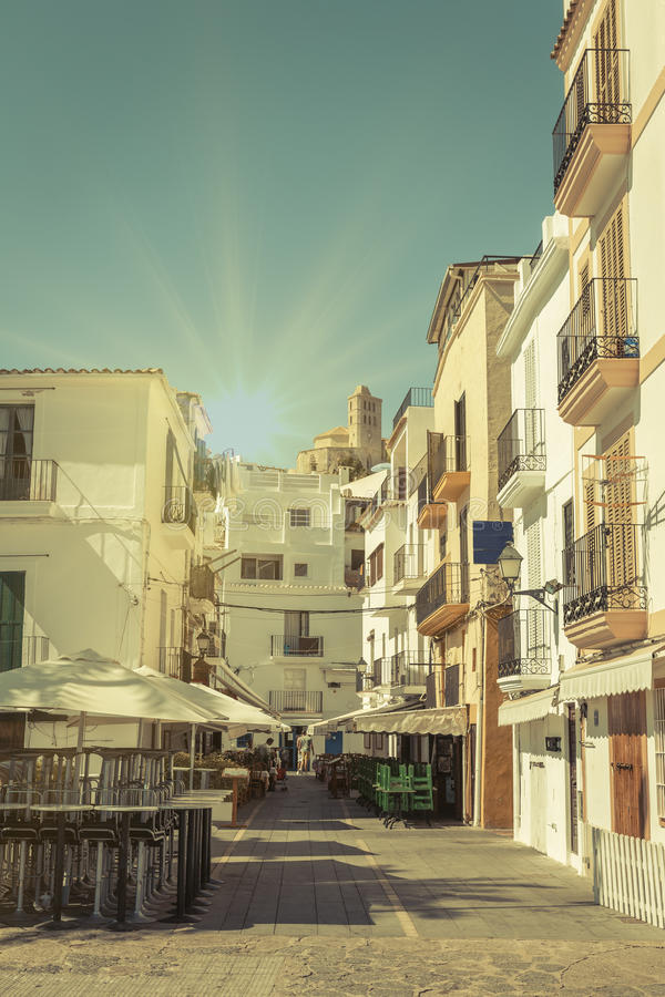 Free Typical Street In Old Town Of Ibiza, In Balearic Islands, Spain Stock Photography - 43921792