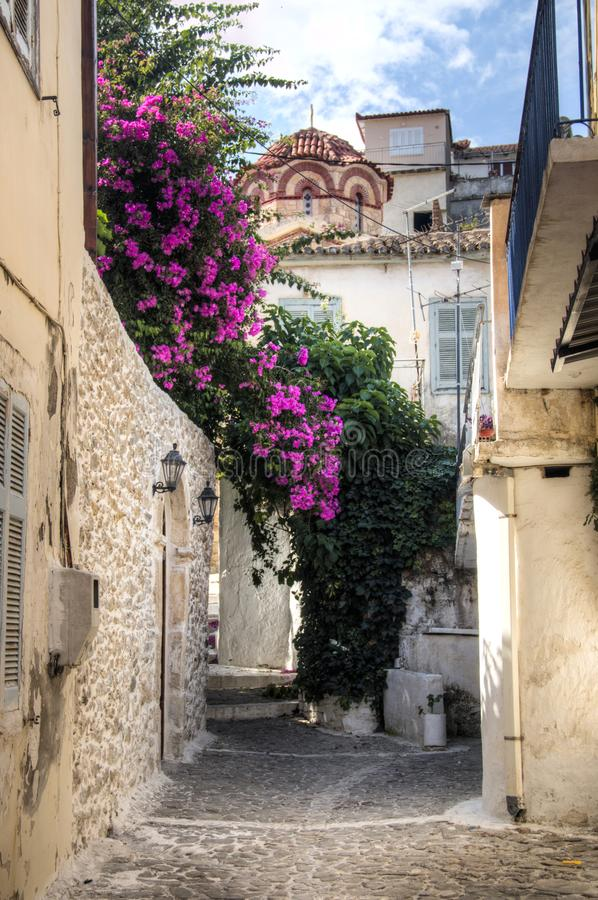 Typical street in Koroni, Greece royalty free stock photography