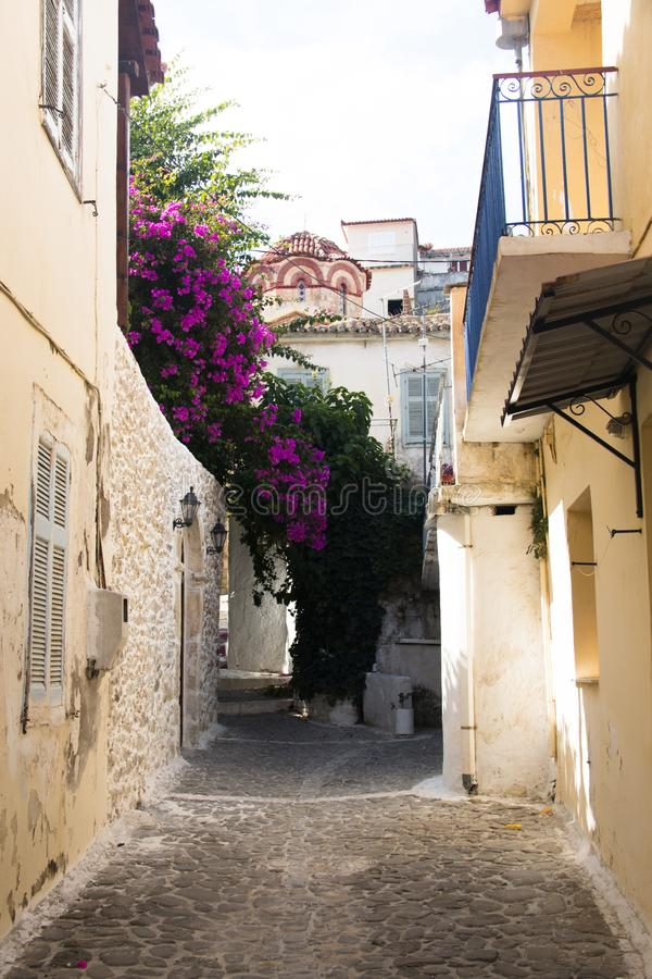 Typical street in Koroni, Greece royalty free stock images