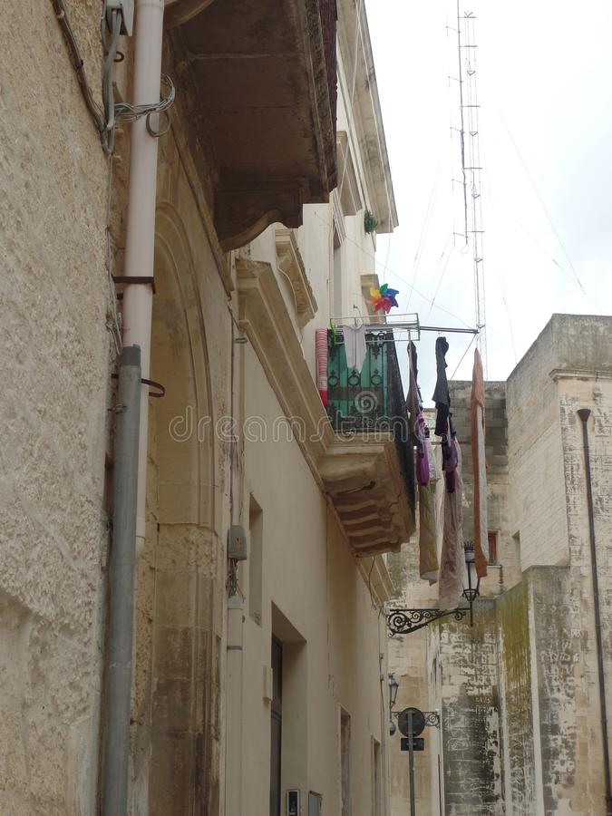 Typical street in Lecce, Puglia, Southern Italy stock images