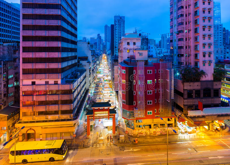 Typical street market in Hong Kong royalty free stock image