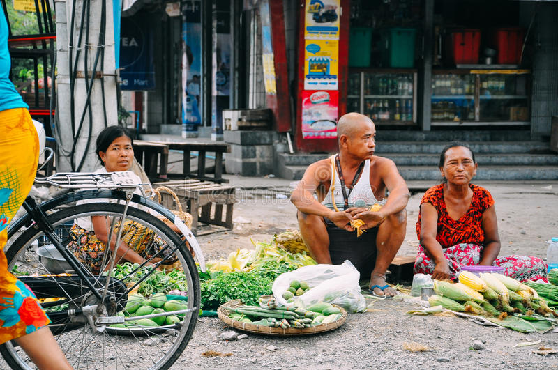 A typical street market in Mandalay. stock photos
