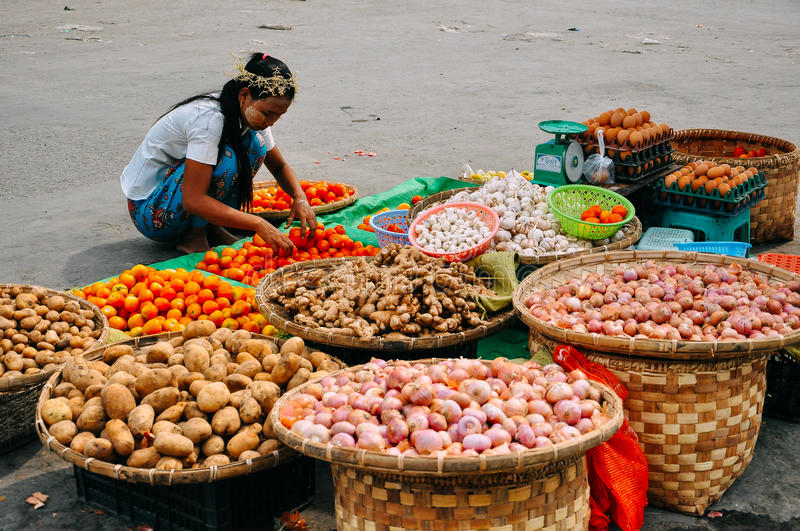 A typical street market in Mandalay. royalty free stock photos