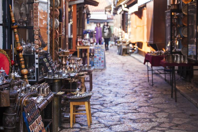 Typical street market in Sarajevo stock images