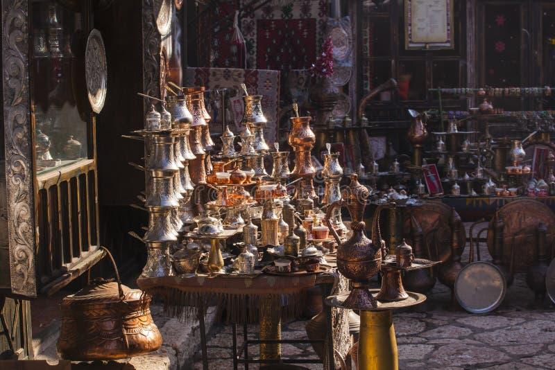Typical street market in Sarajevo. Bosnia and Herzegovina stock photography