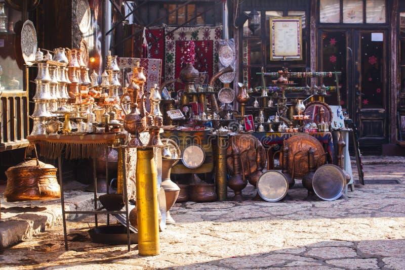 Typical street market in Sarajevo. Bosnia and Herzegovina stock photos