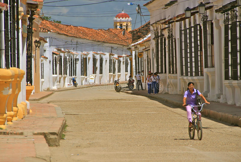 Typical Street of Mompos, Colombia stock photo