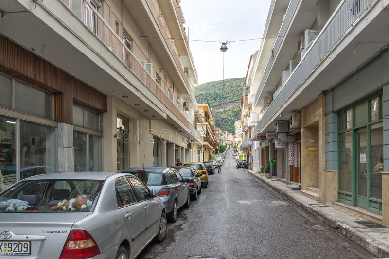 Typical street in Nafpaktos town, Western Greece royalty free stock photos