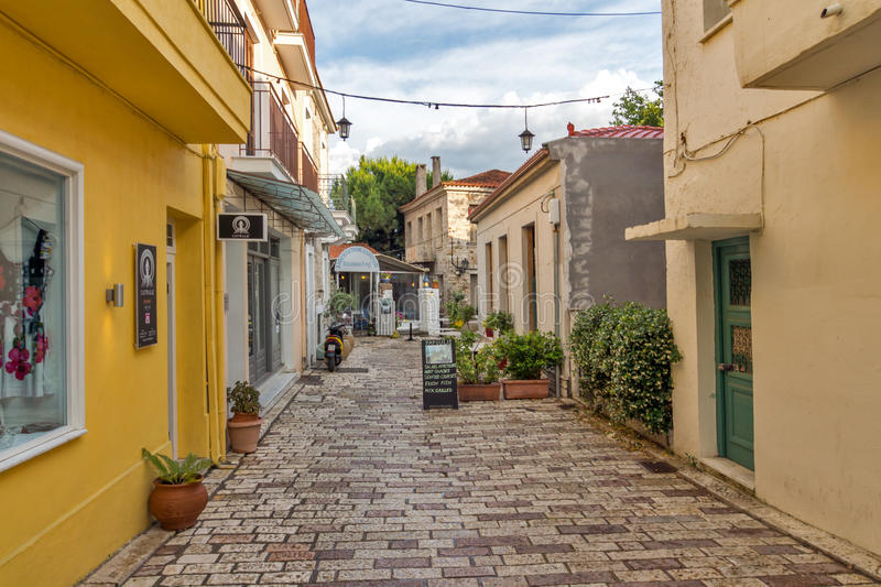 Typical street in nafpaktos town, Western Greece stock images