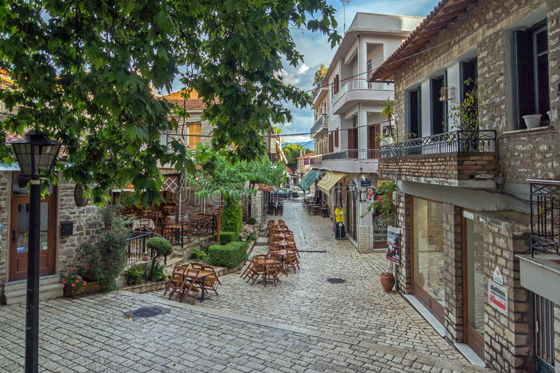 Typical street in nafpaktos town, Western Greece royalty free stock photo