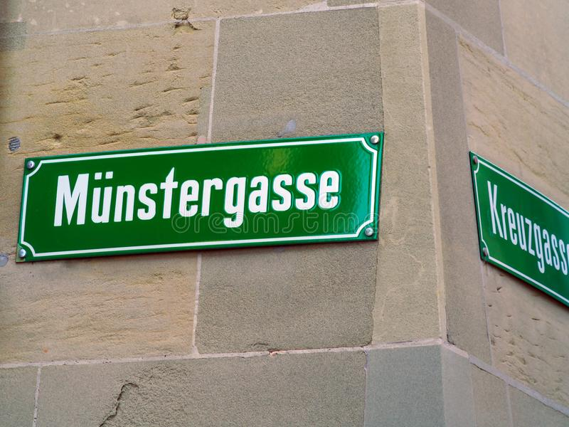 Typical street name signs in the old city, Bern, Switzerland. Typical street name signs in the old town, Bern, Switzerland royalty free stock images