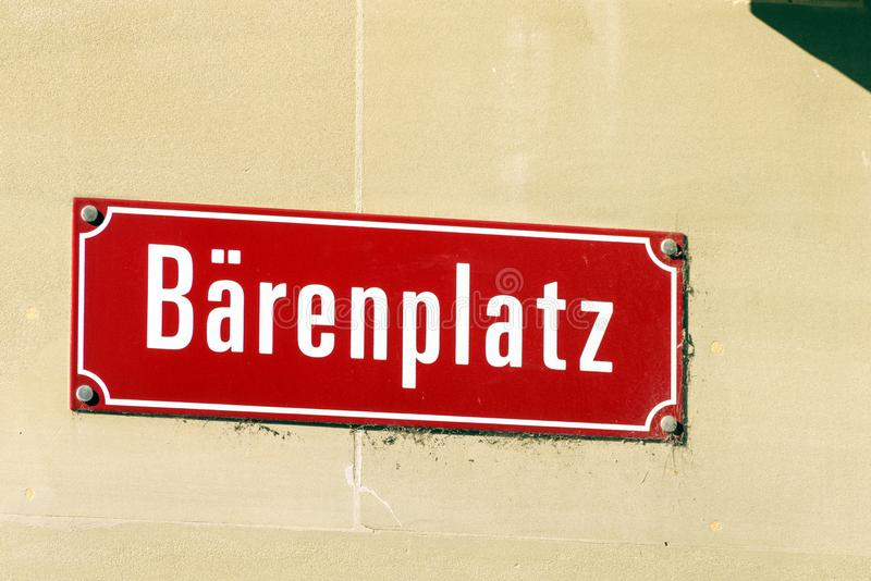 Typical street name signs in the old city, Bern, Switzerland. Typical street name signs in the old town, Bern, Switzerland stock photos