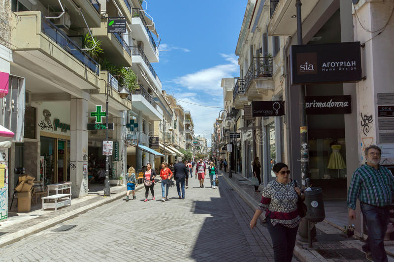 Typical street in Patras, Peloponnese, Western Greece stock photos