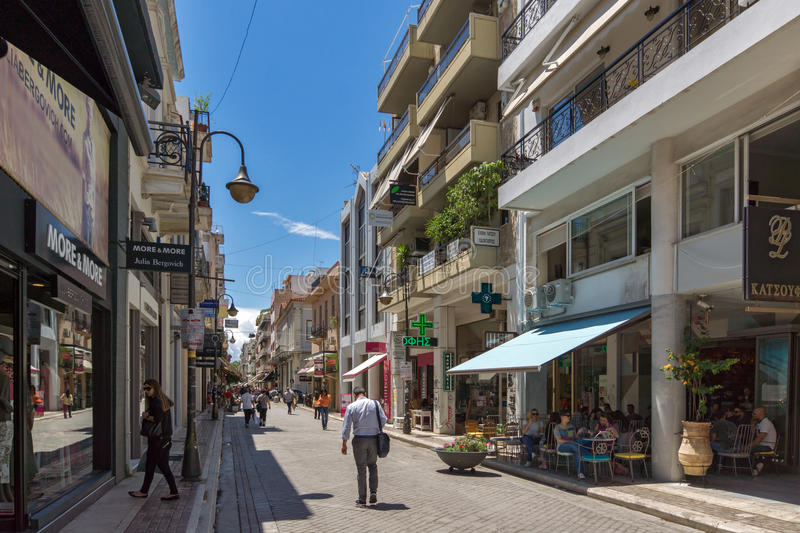 Typical street in Patras, Peloponnese, Western Greece royalty free stock photography