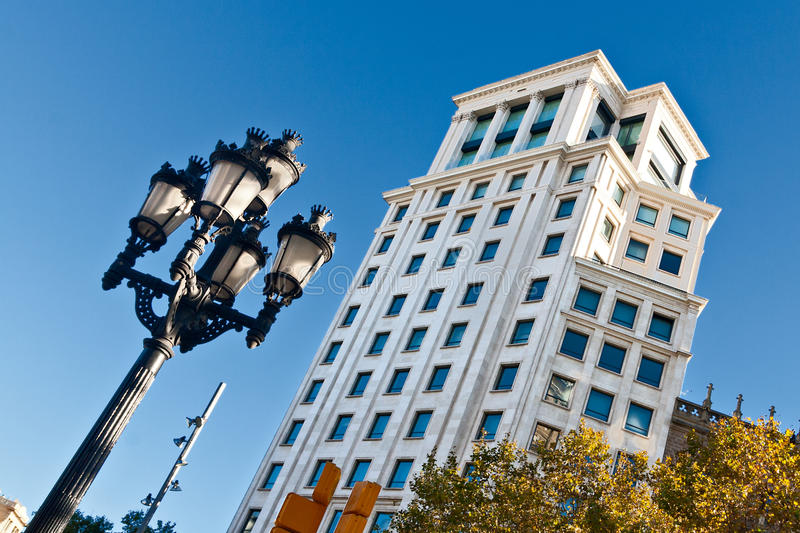 Download Typical Streetlamp And Tower In Barcelona Stock Photo - Image: 27736646